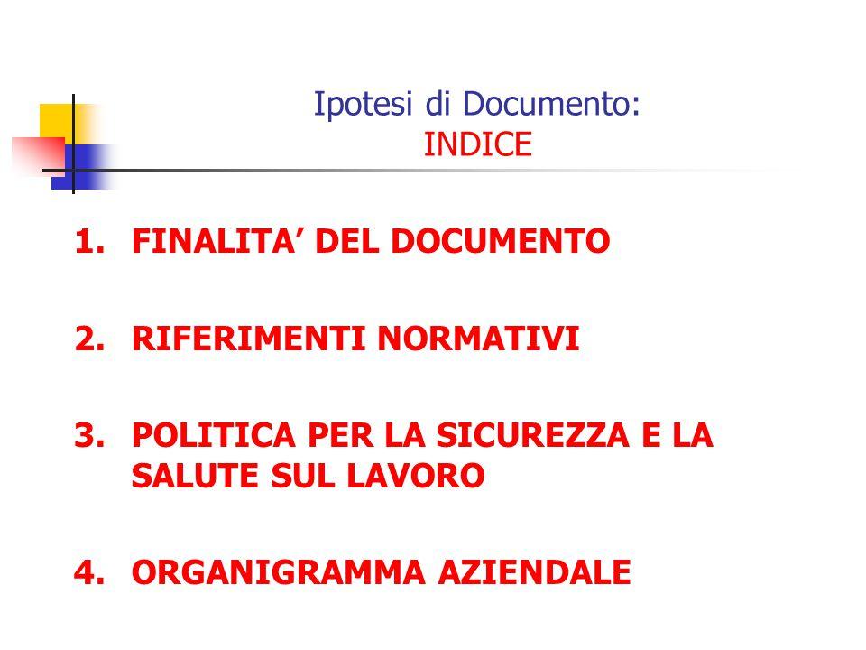 Ipotesi di Documento: INDICE 1.FINALITA DEL DOCUMENTO 2.RIFERIMENTI NORMATIVI 3.POLITICA PER LA SICUREZZA E LA SALUTE SUL LAVORO 4.ORGANIGRAMMA AZIEND