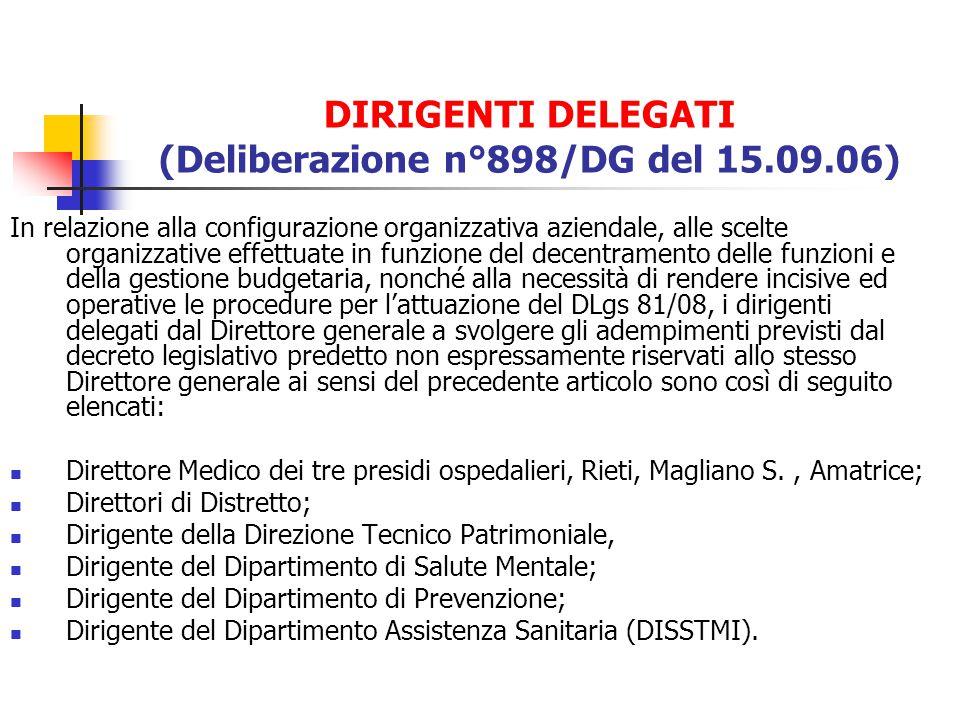 DIRIGENTI DELEGATI (Deliberazione n°898/DG del 15.09.06) In relazione alla configurazione organizzativa aziendale, alle scelte organizzative effettuat