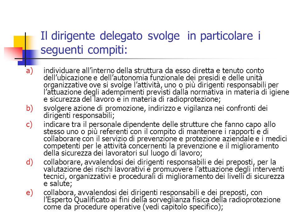 Il dirigente delegato svolge in particolare i seguenti compiti: a)individuare allinterno della struttura da esso diretta e tenuto conto dellubicazione
