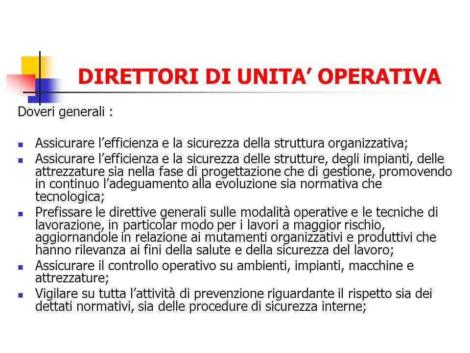 DIRETTORI DI UNITA OPERATIVA Doveri generali : Assicurare lefficienza e la sicurezza della struttura organizzativa; Assicurare lefficienza e la sicure