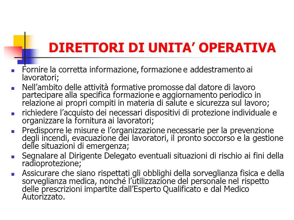 DIRETTORI DI UNITA OPERATIVA Fornire la corretta informazione, formazione e addestramento ai lavoratori; Nellambito delle attività formative promosse