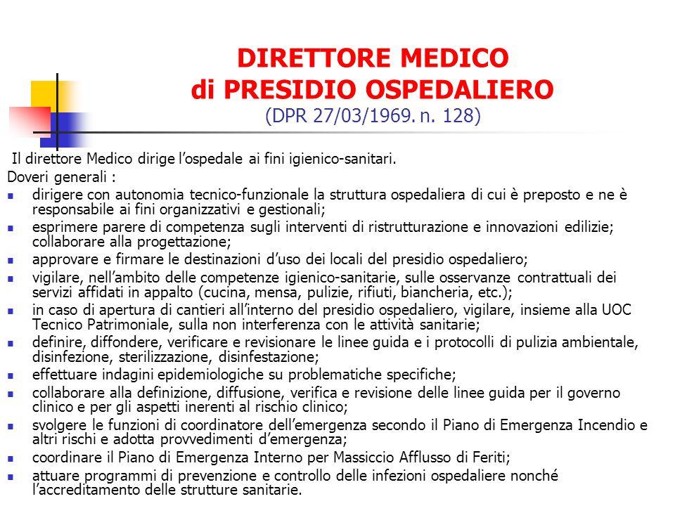 DIRETTORE MEDICO di PRESIDIO OSPEDALIERO (DPR 27/03/1969. n. 128) Il direttore Medico dirige lospedale ai fini igienico-sanitari. Doveri generali : di