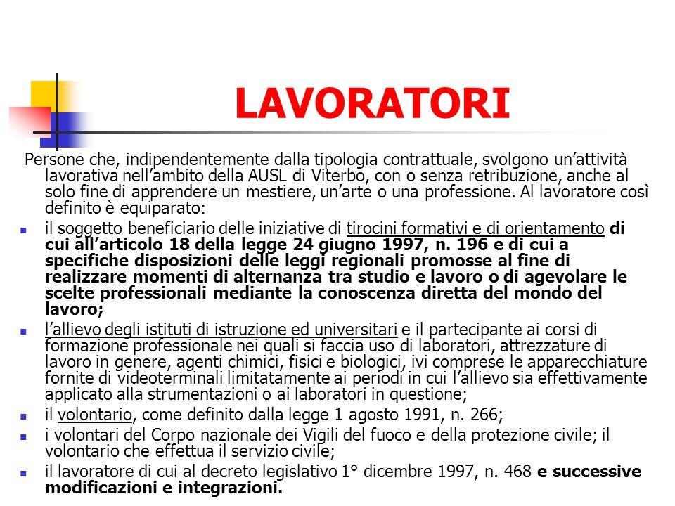 LAVORATORI Persone che, indipendentemente dalla tipologia contrattuale, svolgono unattività lavorativa nellambito della AUSL di Viterbo, con o senza r