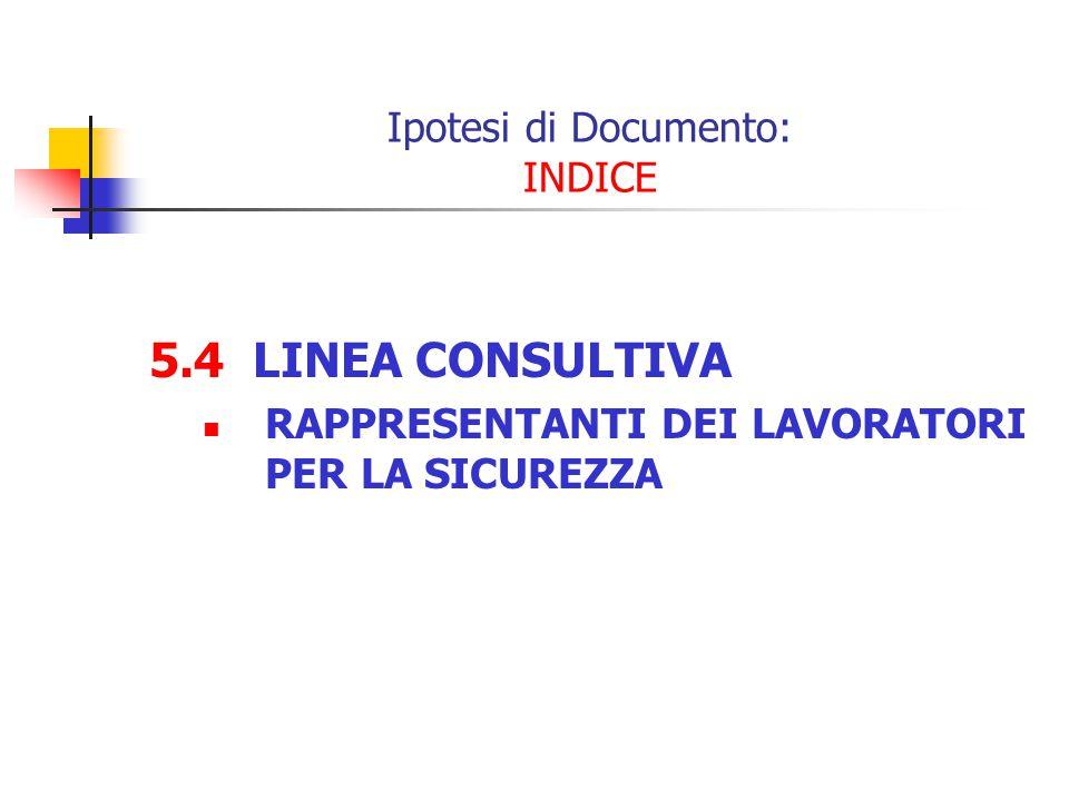 5.4 LINEA CONSULTIVA RAPPRESENTANTI DEI LAVORATORI PER LA SICUREZZA Ipotesi di Documento: INDICE