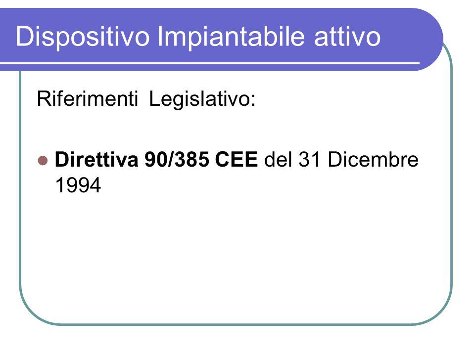 Dispositivo Impiantabile attivo Riferimenti Legislativo: Direttiva 90/385 CEE del 31 Dicembre 1994
