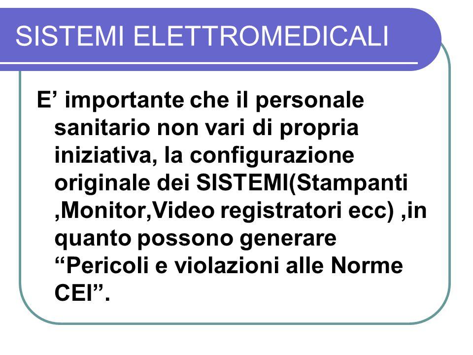 SISTEMI ELETTROMEDICALI E importante che il personale sanitario non vari di propria iniziativa, la configurazione originale dei SISTEMI(Stampanti,Moni