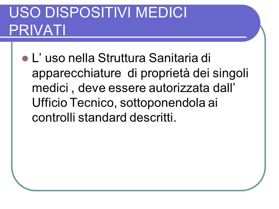 USO DISPOSITIVI MEDICI PRIVATI L uso nella Struttura Sanitaria di apparecchiature di proprietà dei singoli medici, deve essere autorizzata dall Uffici