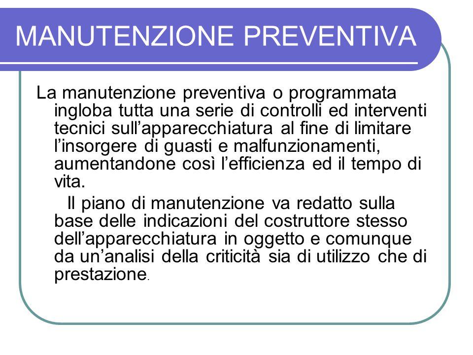 MANUTENZIONE PREVENTIVA La manutenzione preventiva o programmata ingloba tutta una serie di controlli ed interventi tecnici sullapparecchiatura al fin