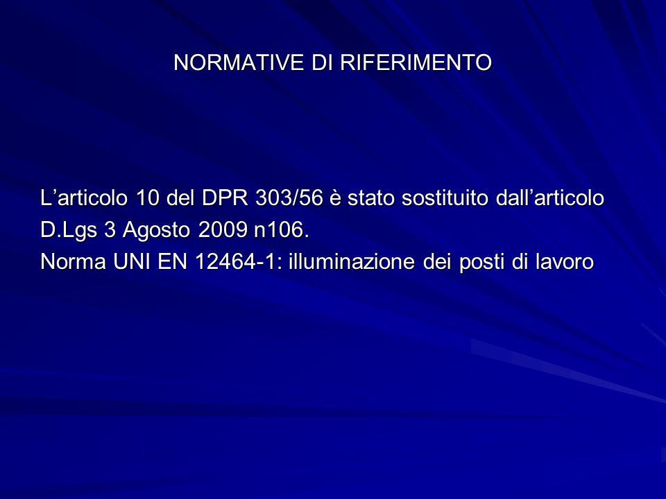 NORMATIVE DI RIFERIMENTO Larticolo 10 del DPR 303/56 è stato sostituito dallarticolo D.Lgs 3 Agosto 2009 n106. Norma UNI EN 12464-1: illuminazione dei