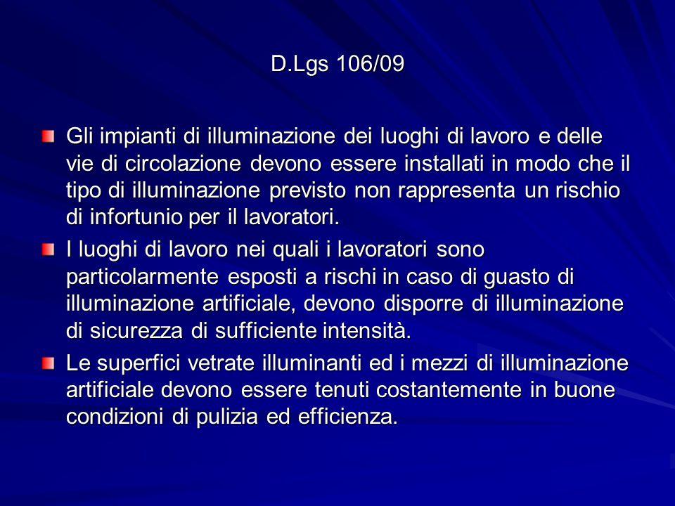 D.Lgs 106/09 Gli impianti di illuminazione dei luoghi di lavoro e delle vie di circolazione devono essere installati in modo che il tipo di illuminazione previsto non rappresenta un rischio di infortunio per il lavoratori.