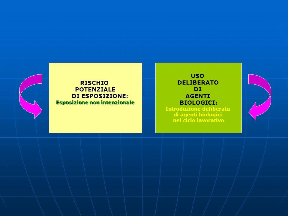 RISCHIOPOTENZIALE DI ESPOSIZIONE: DI ESPOSIZIONE: Esposizione non intenzionale USO DELIBERATO DI AGENTI BIOLOGICI: Introduzione deliberata di agenti b