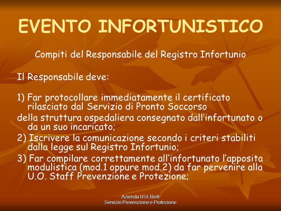 EVENTO INFORTUNISTICO Compiti del Responsabile del Registro Infortunio Il Responsabile deve: 1) Far protocollare immediatamente il certificato rilasci