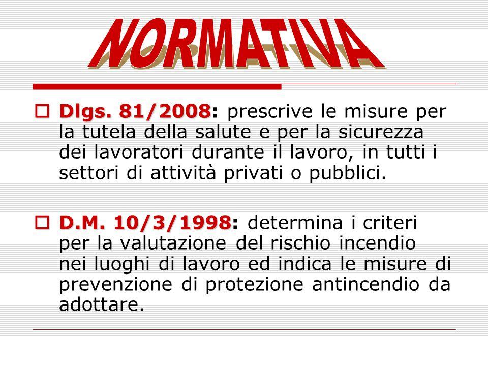 Dlgs. 81/2008 Dlgs. 81/2008: prescrive le misure per la tutela della salute e per la sicurezza dei lavoratori durante il lavoro, in tutti i settori di