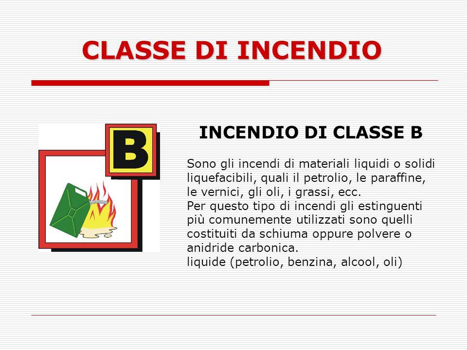 CLASSE DI INCENDIO INCENDIO DI CLASSE B Sono gli incendi di materiali liquidi o solidi liquefacibili, quali il petrolio, le paraffine, le vernici, gli
