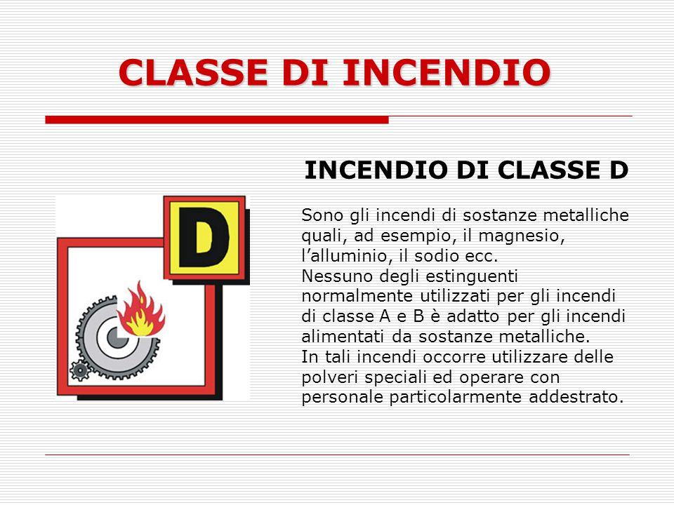CLASSE DI INCENDIO INCENDIO DI CLASSE D Sono gli incendi di sostanze metalliche quali, ad esempio, il magnesio, lalluminio, il sodio ecc. Nessuno degl