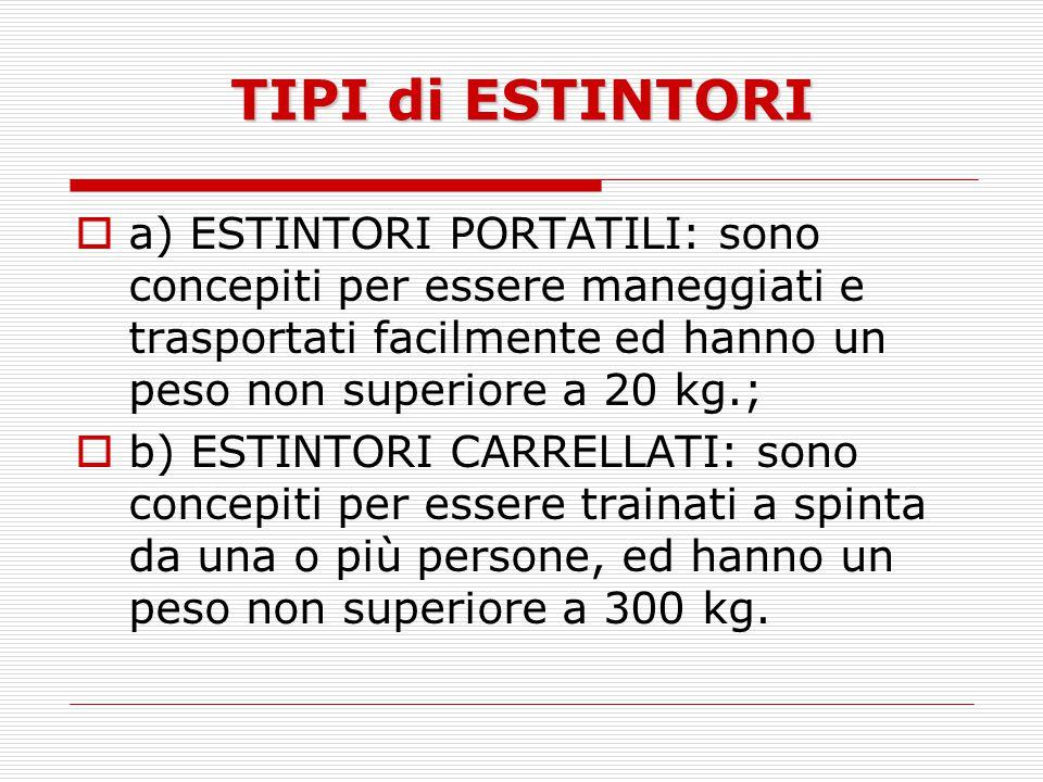 TIPI di ESTINTORI a) ESTINTORI PORTATILI: sono concepiti per essere maneggiati e trasportati facilmente ed hanno un peso non superiore a 20 kg.; b) ES