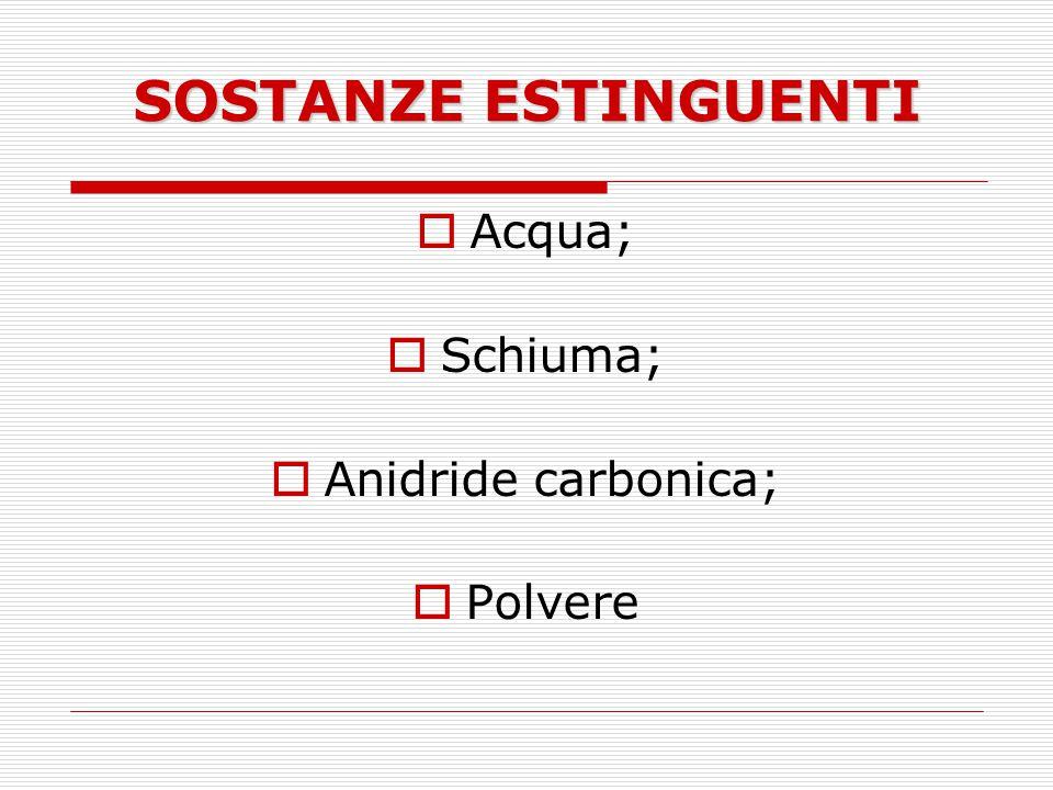 SOSTANZE ESTINGUENTI Acqua; Schiuma; Anidride carbonica; Polvere