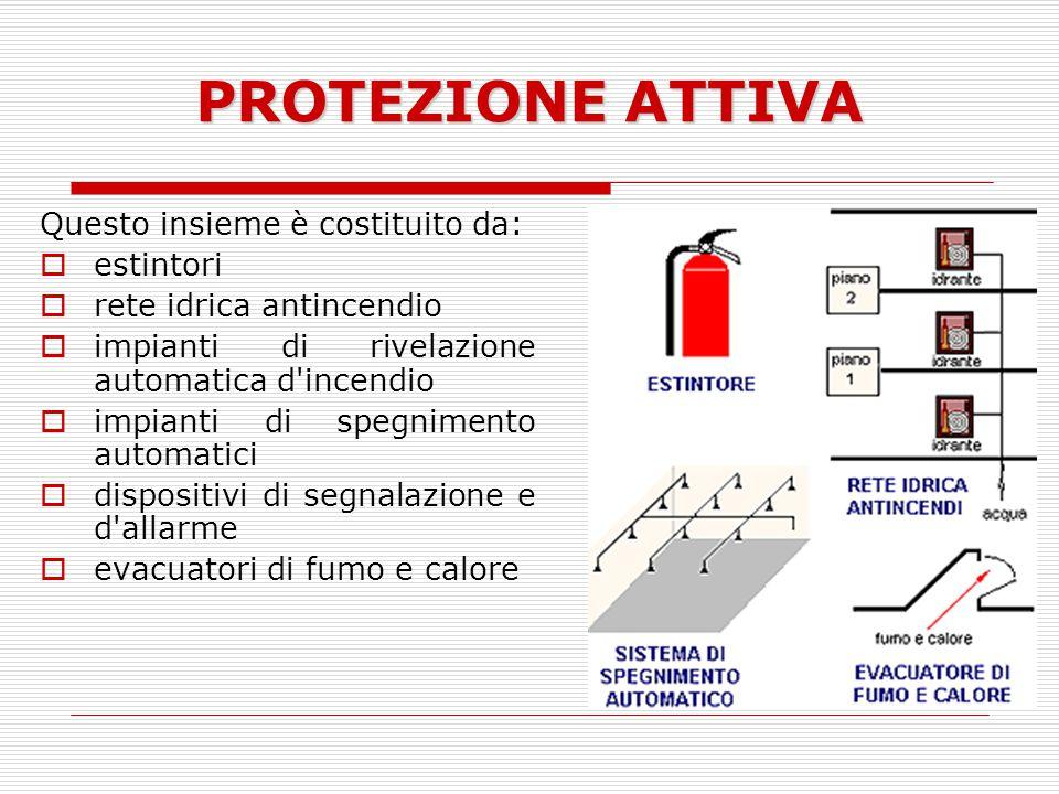 PROTEZIONE ATTIVA Questo insieme è costituito da: estintori rete idrica antincendio impianti di rivelazione automatica d'incendio impianti di spegnime