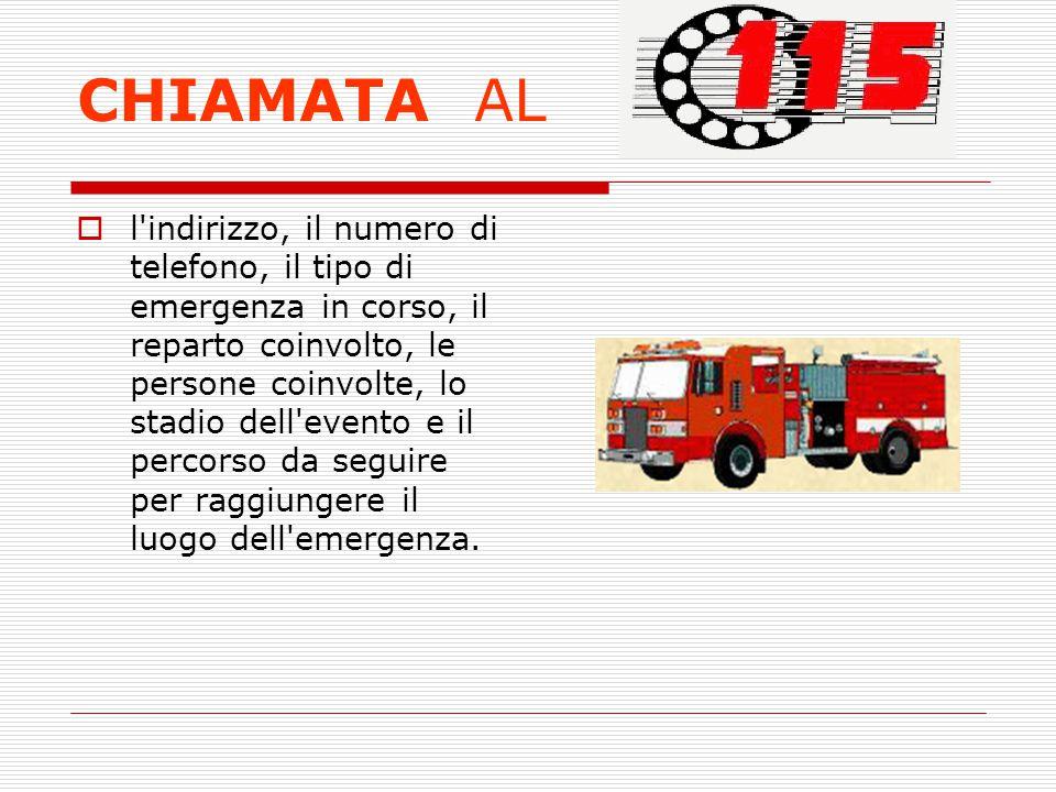 CHIAMATA AL l'indirizzo, il numero di telefono, il tipo di emergenza in corso, il reparto coinvolto, le persone coinvolte, lo stadio dell'evento e il