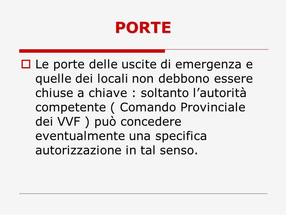 PORTE Le porte delle uscite di emergenza e quelle dei locali non debbono essere chiuse a chiave : soltanto lautorità competente ( Comando Provinciale