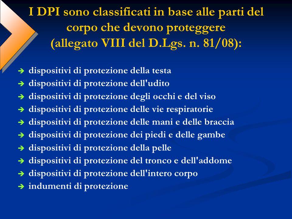 I DPI sono classificati in base alle parti del corpo che devono proteggere (allegato VIII del D.Lgs. n. 81/08): dispositivi di protezione della testa