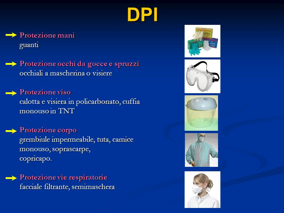 DPI Protezione mani guanti Protezione occhi da gocce e spruzzi occhiali a mascherina o visiere Protezione viso calotta e visiera in policarbonato, cuf