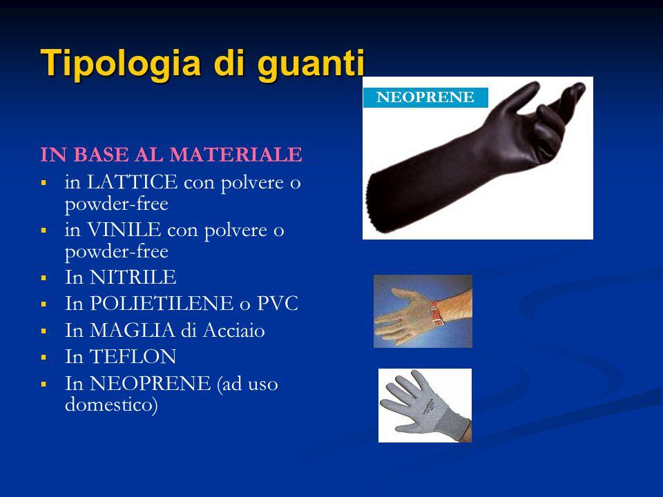 Tipologia di guanti IN BASE AL MATERIALE in LATTICE con polvere o powder-free in VINILE con polvere o powder-free In NITRILE In POLIETILENE o PVC In M
