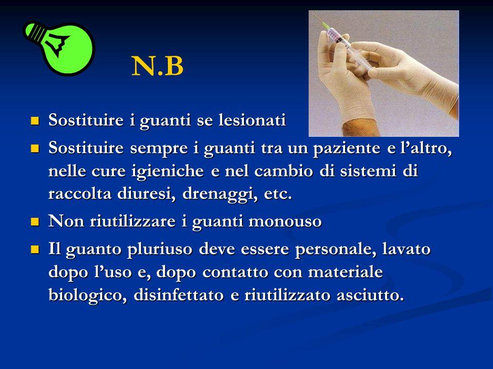 Sostituire i guanti se lesionati Sostituire i guanti se lesionati Sostituire sempre i guanti tra un paziente e laltro, nelle cure igieniche e nel camb