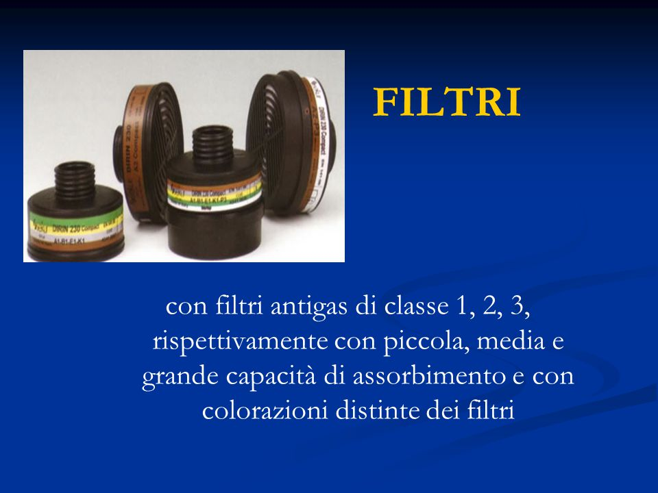 FILTRI con filtri antigas di classe 1, 2, 3, rispettivamente con piccola, media e grande capacità di assorbimento e con colorazioni distinte dei filtr