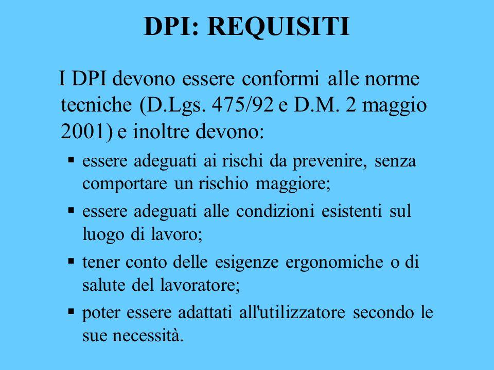 DPI: REQUISITI I DPI devono essere conformi alle norme tecniche (D.Lgs.