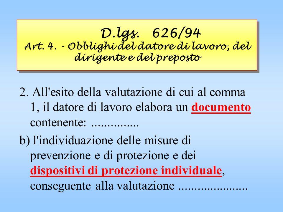 D.lgs. 626/94 Art. 4. - Obblighi del datore di lavoro, del dirigente e del preposto 2. All'esito della valutazione di cui al comma 1, il datore di lav