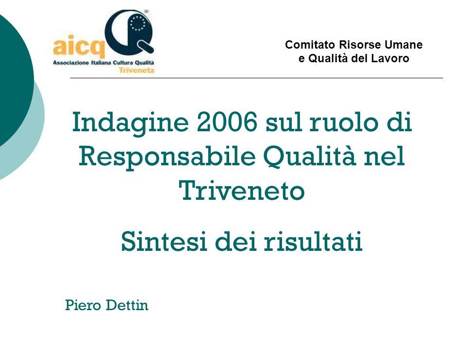 Comitato Risorse Umane e Qualità del Lavoro Indagine 2006 sul ruolo di Responsabile Qualità nel Triveneto Sintesi dei risultati Piero Dettin