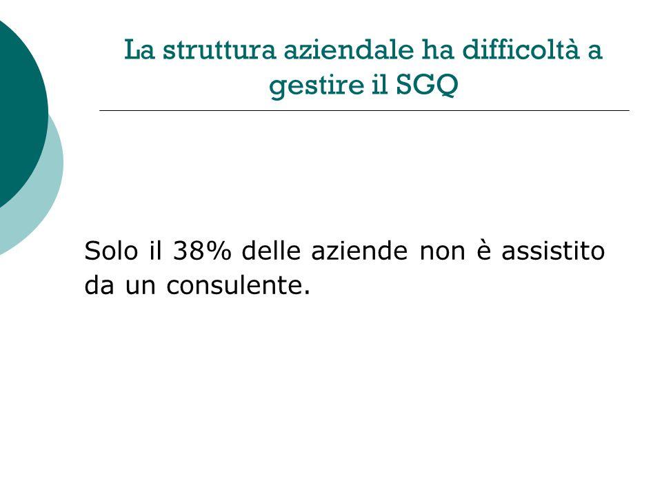 La struttura aziendale ha difficoltà a gestire il SGQ Solo il 38% delle aziende non è assistito da un consulente.