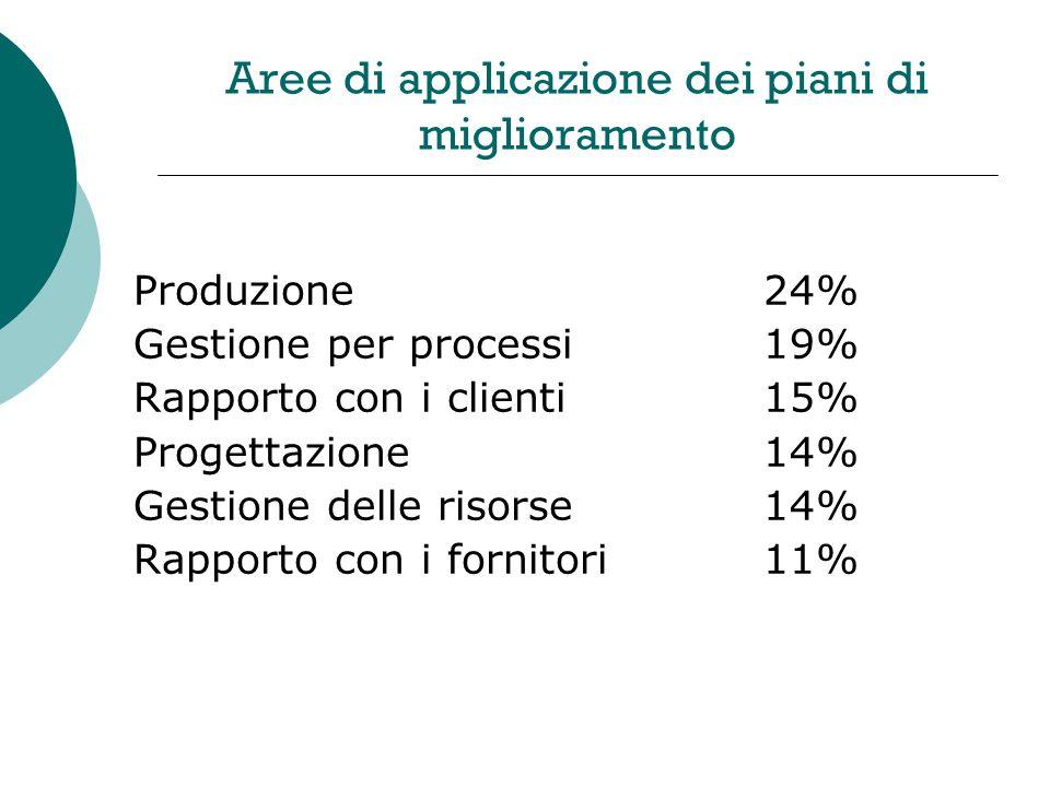 Aree di applicazione dei piani di miglioramento Produzione24% Gestione per processi19% Rapporto con i clienti15% Progettazione14% Gestione delle risorse14% Rapporto con i fornitori11%