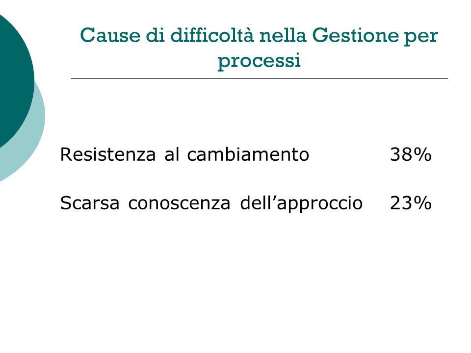 Cause di difficoltà nella Gestione per processi Resistenza al cambiamento38% Scarsa conoscenza dellapproccio23%