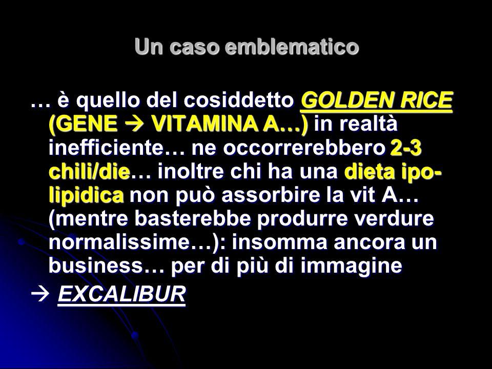 Un caso emblematico … è quello del cosiddetto GOLDEN RICE (GENE VITAMINA A…) in realtà inefficiente… ne occorrerebbero 2-3 chili/die… inoltre chi ha u