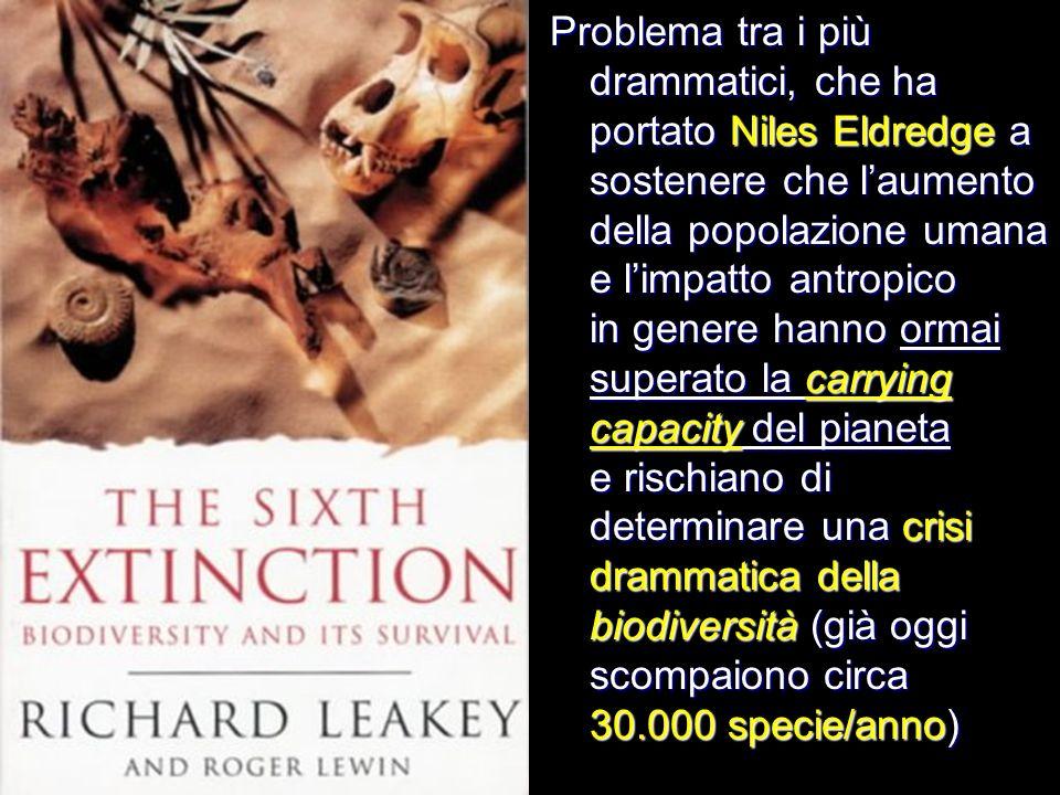 Problema tra i più drammatici, che ha portato Niles Eldredge a sostenere che laumento della popolazione umana e limpatto antropico in genere hanno orm