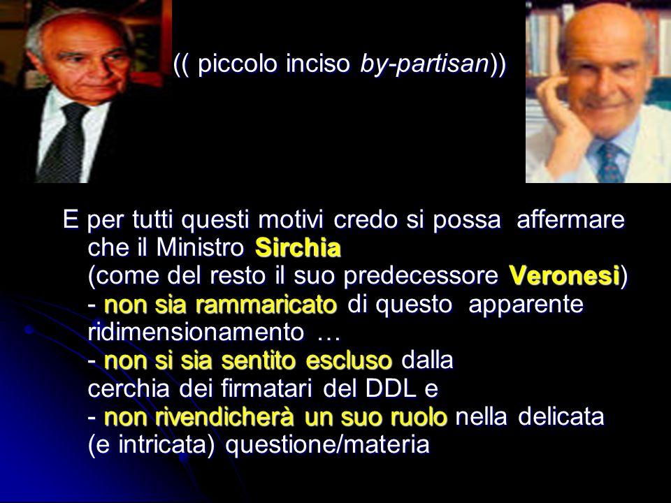 (( piccolo inciso by-partisan)) (( piccolo inciso by-partisan)) E per tutti questi motivi credo si possa affermare che il Ministro Sirchia (come del r