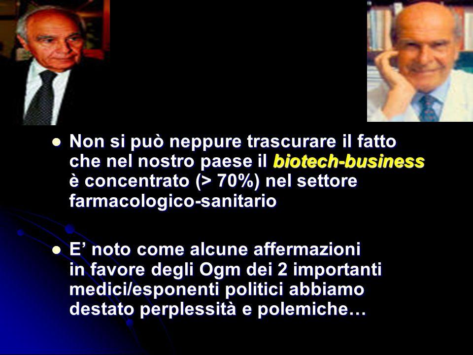 Non si può neppure trascurare il fatto che nel nostro paese il biotech-business è concentrato (> 70%) nel settore farmacologico-sanitario Non si può n