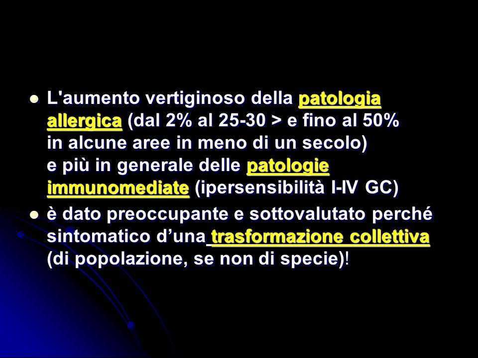 L'aumento vertiginoso della patologia allergica (dal 2% al 25-30 > e fino al 50% in alcune aree in meno di un secolo) e più in generale delle patologi