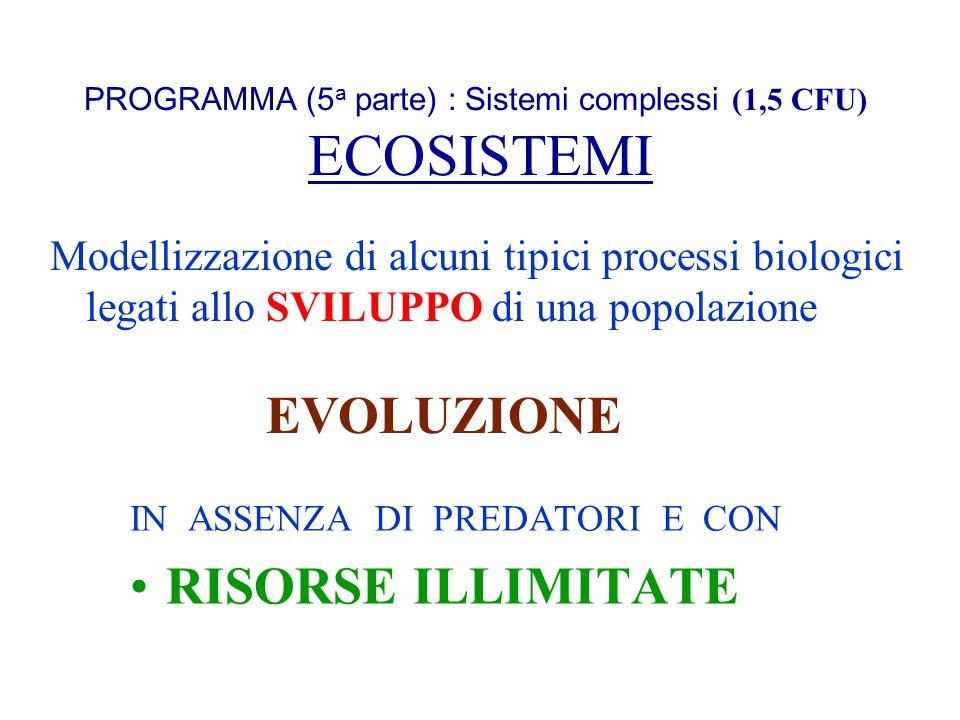 PROGRAMMA (5 a parte) : Sistemi complessi (1,5 CFU) ECOSISTEMI IN ASSENZA DI PREDATORI E CON RISORSE ILLIMITATE Modellizzazione di alcuni tipici proce
