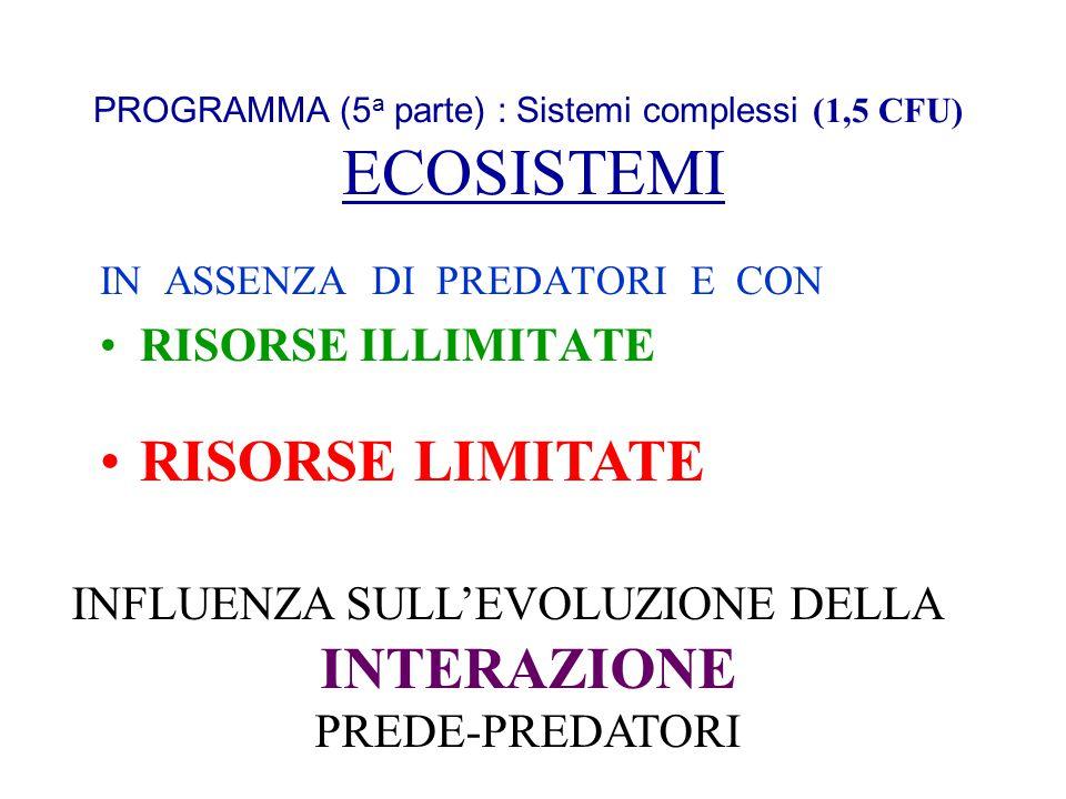 PROGRAMMA (5 a parte) : Sistemi complessi (1,5 CFU) ECOSISTEMI IN ASSENZA DI PREDATORI E CON RISORSE ILLIMITATE INFLUENZA SULLEVOLUZIONE DELLA INTERAZ