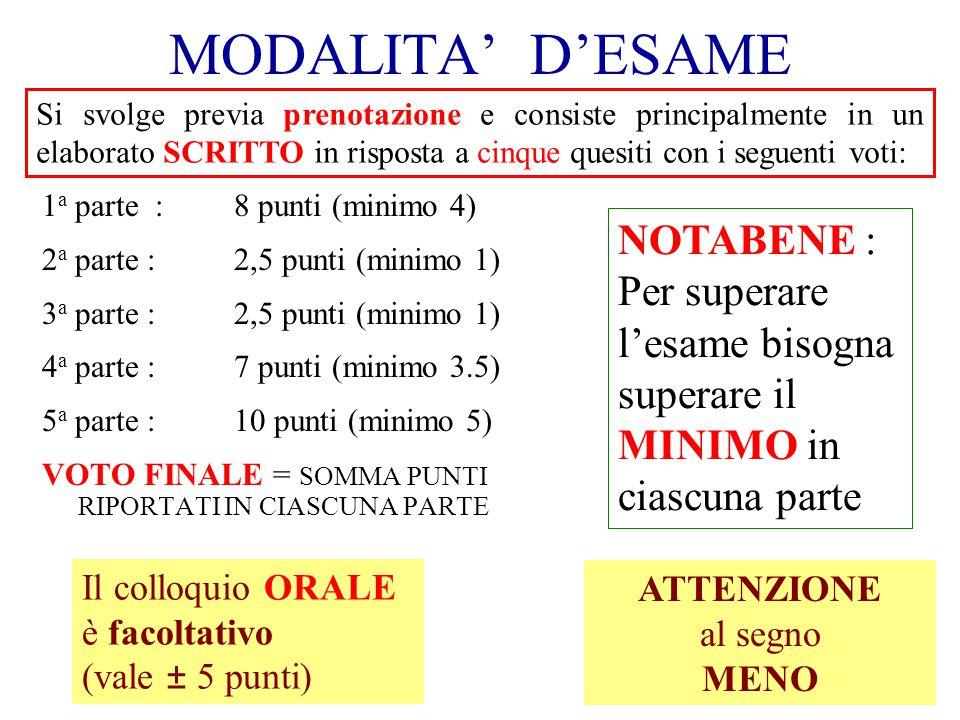 MODALITA DESAME 1 a parte :8 punti (minimo 4) 2 a parte :2,5 punti (minimo 1) 3 a parte : 2,5 punti (minimo 1) 4 a parte : 7 punti (minimo 3.5) 5 a pa