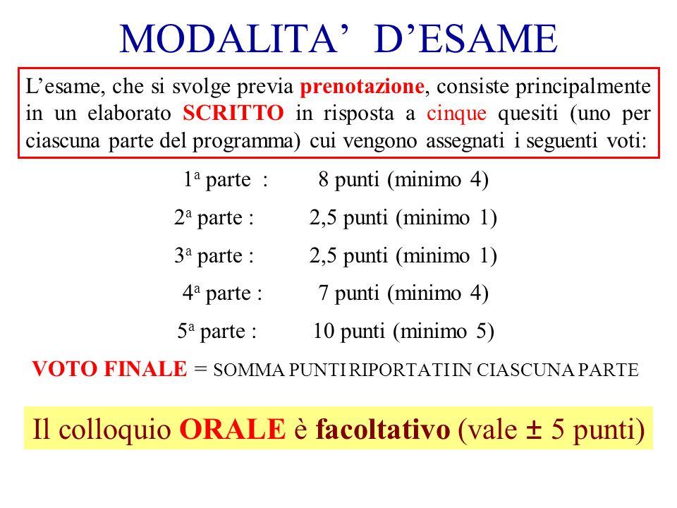 MODALITA DESAME 1 a parte :8 punti (minimo 4) 2 a parte :2,5 punti (minimo 1) 3 a parte : 2,5 punti (minimo 1) 4 a parte : 7 punti (minimo 4) 5 a part