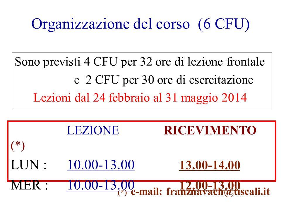 Organizzazione del corso (6 CFU) Sono previsti 4 CFU per 32 ore di lezione frontale e 2 CFU per 30 ore di esercitazione Lezioni dal 24 febbraio al 31