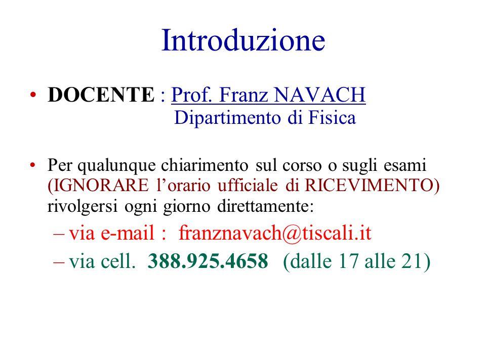 Introduzione DOCENTE : Prof. Franz NAVACH Dipartimento di Fisica Per qualunque chiarimento sul corso o sugli esami (IGNORARE lorario ufficiale di RICE