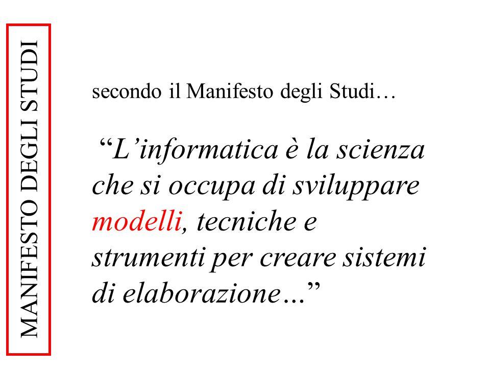 MANIFESTO DEGLI STUDI secondo il Manifesto degli Studi… Linformatica è la scienza che si occupa di sviluppare modelli, tecniche e strumenti per creare