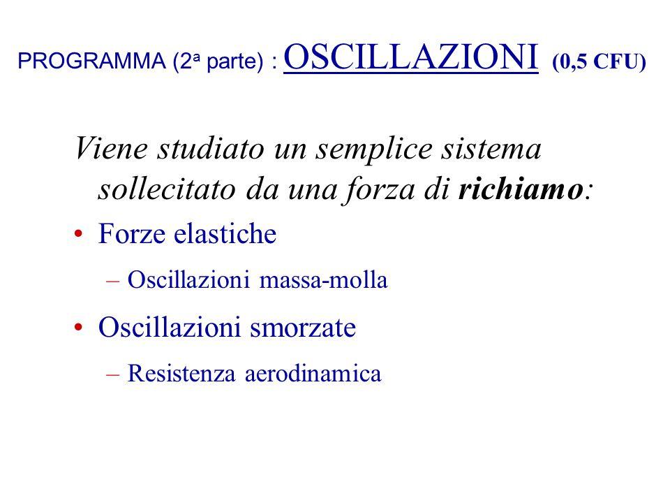 PROGRAMMA (2 a parte) : OSCILLAZIONI (0,5 CFU) Viene studiato un semplice sistema sollecitato da una forza di richiamo: Forze elastiche –Oscillazioni