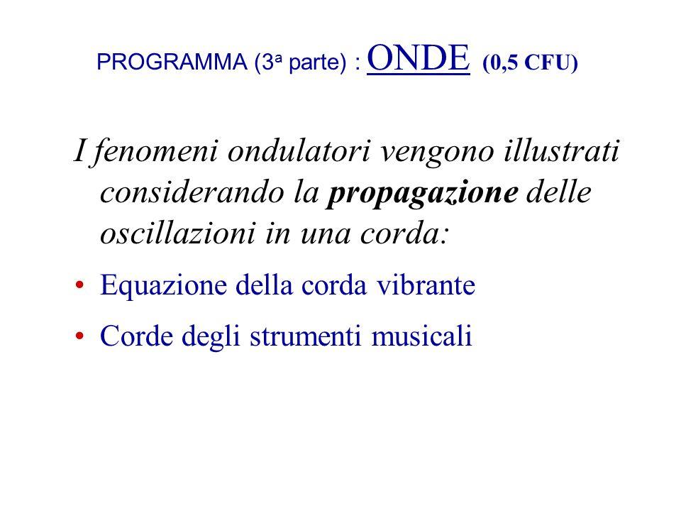 PROGRAMMA (3 a parte) : ONDE (0,5 CFU) I fenomeni ondulatori vengono illustrati considerando la propagazione delle oscillazioni in una corda: Equazion