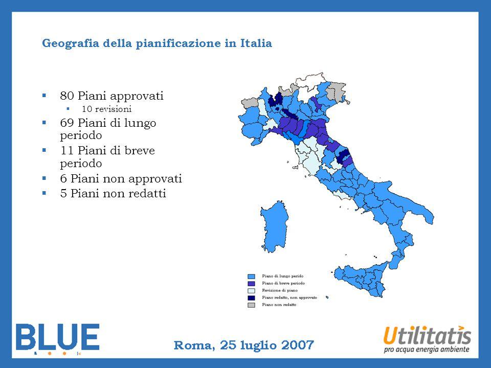 Geografia della pianificazione in Italia 80 Piani approvati 10 revisioni 69 Piani di lungo periodo 11 Piani di breve periodo 6 Piani non approvati 5 P